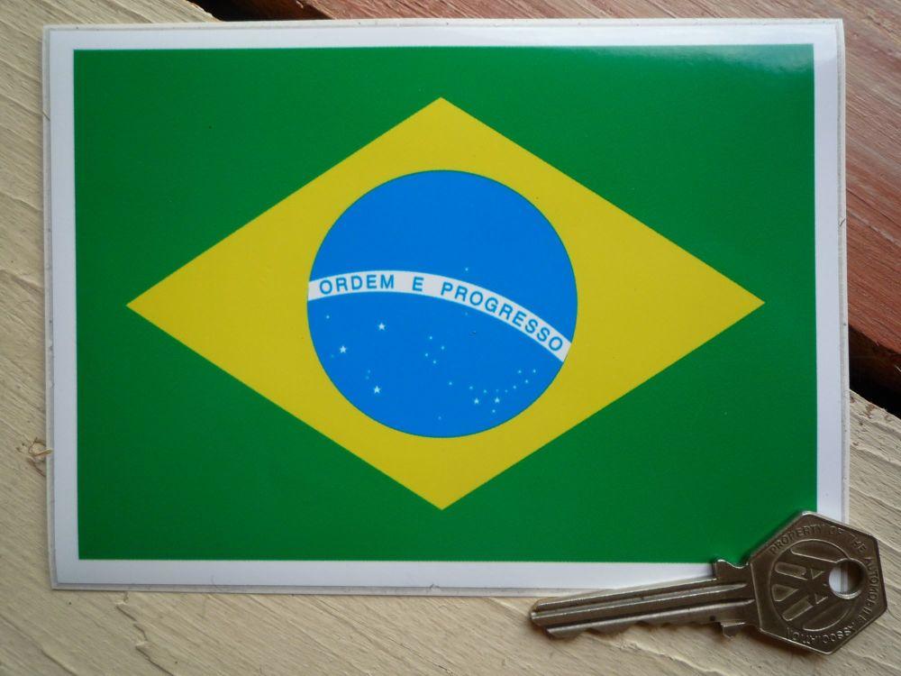 Brazilian Flag Sticker. 5.5