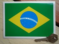 "Brazilian Flag Sticker. 5.5""."