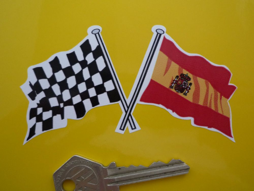 "Crossed Spanish & Chequered Flag Sticker. 4""."
