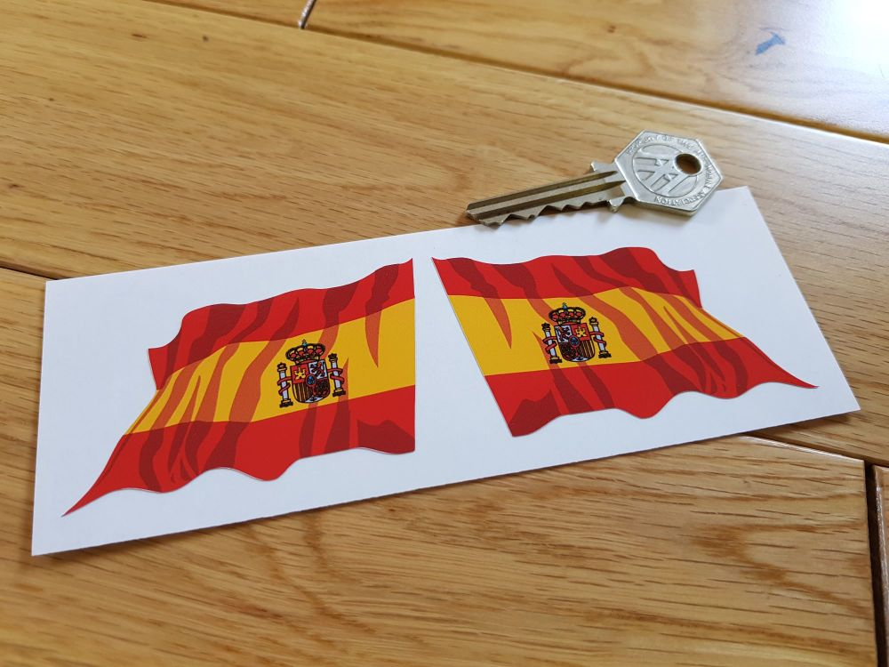 """Spanish Wavy Flag Stickers. 2"""" or 3"""" Pair."""