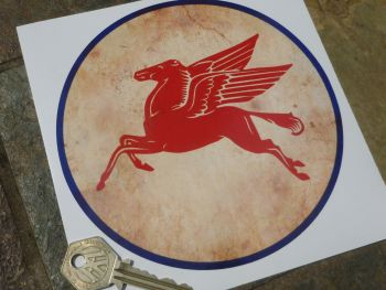 "Mobil Pegasus Circular Distressed Style Sticker. 6""."