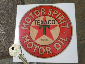 "Texaco Motor Spirit Motor Oil Circular Petrol Pump Sticker - 4.5"" or 8"""