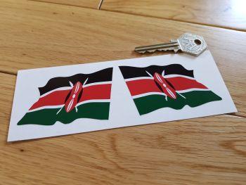 """Kenyan Flag Wavy Flag of Kenya Stickers. 3"""" Pair."""
