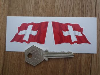 "Swiss Wavy Flags. Handed 2"" Pair."