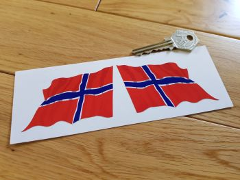 "Norway Wavy Flag Stickers. 2"" or 3"" Pair."