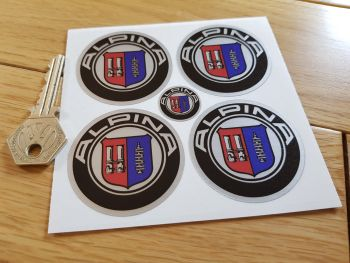 BMW Alpina Thick Foil Wheel Centre Stickers. Set of 4. 50mm.