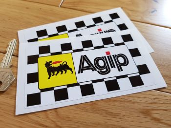 "Agip Chequered Background Stickers. 5"" Pair."