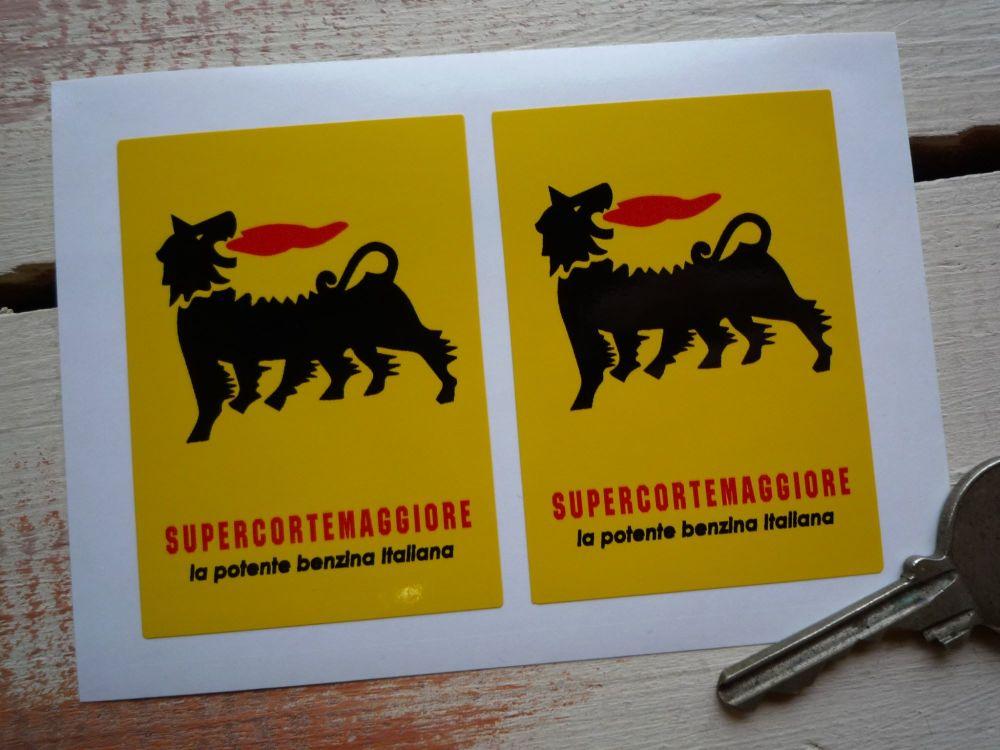"Supercortemaggiore 'benzina Italiana' Stickers. 2.5"" Pair."