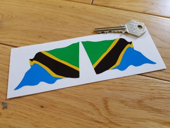 "Tanzanian Flag Wavy Flag of Tanzania Stickers. 3"" Pair."