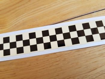 "Chequered Tape Checkered Check Black & Cream Decal. 46"" x 1""."