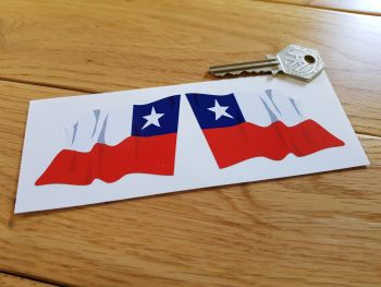 """Chilean Flag Wavy Flag of Chile Stickers. 3"""" Pair."""