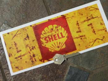 "Shell Can Wrap Distressed Old Rusty Style Oblong Sticker. 9.5""."