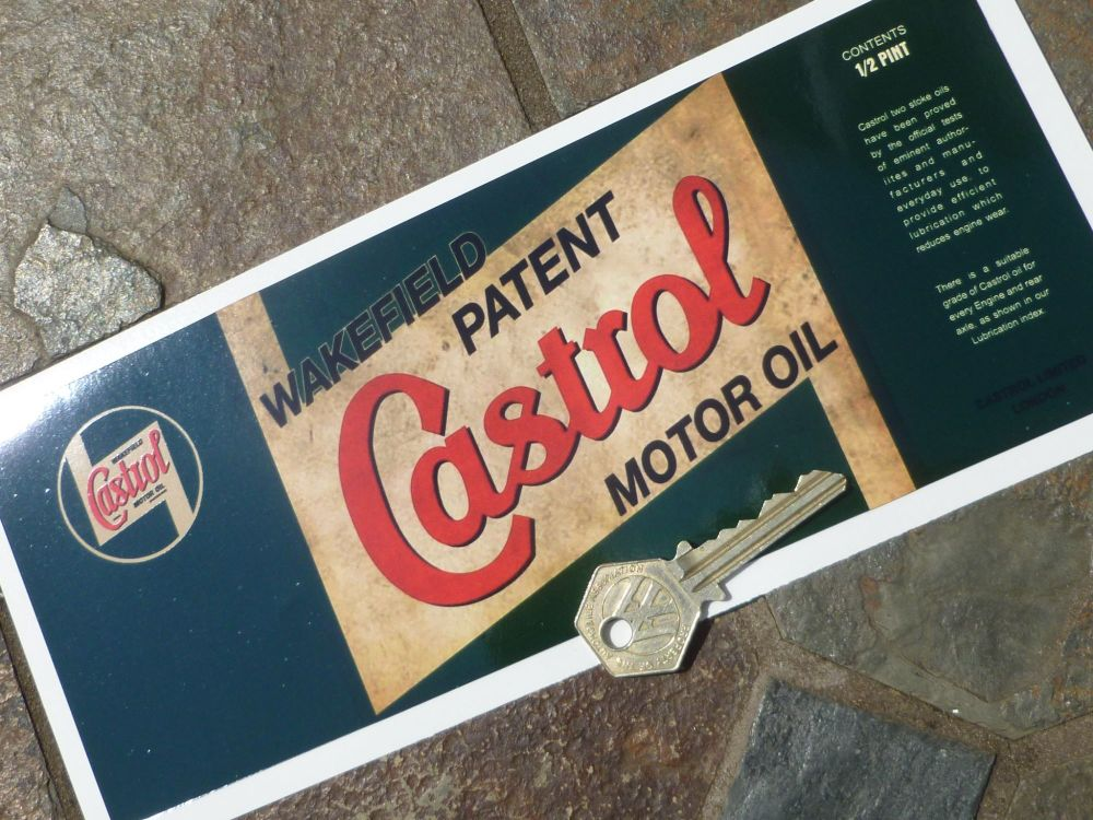 """Castrol Wakefield Can Wrap Distressed Old Rusty Style Oblong Sticker. 9.5""""."""