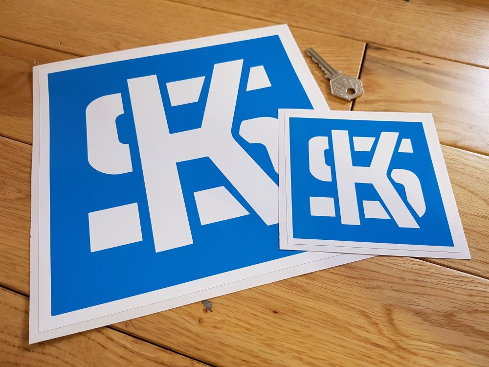 "KS Pistons Light Blue & White Square Stickers. 4"" or 8"" Pair."