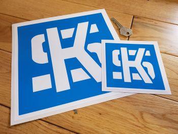 "KS Pistons Light Blue & White Square Stickers. 4"" or 8"" Pair."