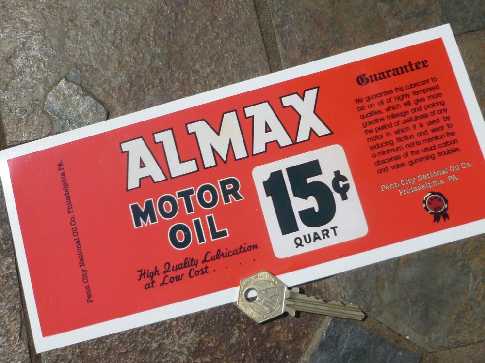 """Almax Motor Oil Can-Wrap Distressed Old Rusty Style Oblong Sticker. 9.5""""."""