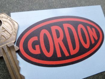"Gordon English Tools Red & Black Oval Sticker. 3""."