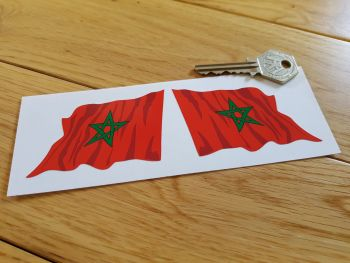 """Moroccan Flag Wavy Flag of Morocco Stickers. 3"""" Pair."""