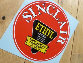 "Sinclair Ethyl Red Gasoline Circular Large Sticker. 8""."