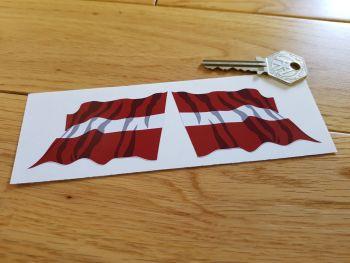 "Latvian Flag Wavy Flag of Latvia Stickers. 3"" Pair."