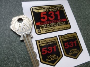 Reynolds 531 Red Professional Frame and Fork Blades Stickers. Set of 3.