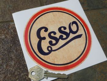 "Esso Distressed Style Circular Petrol Pump Sticker. 5""."