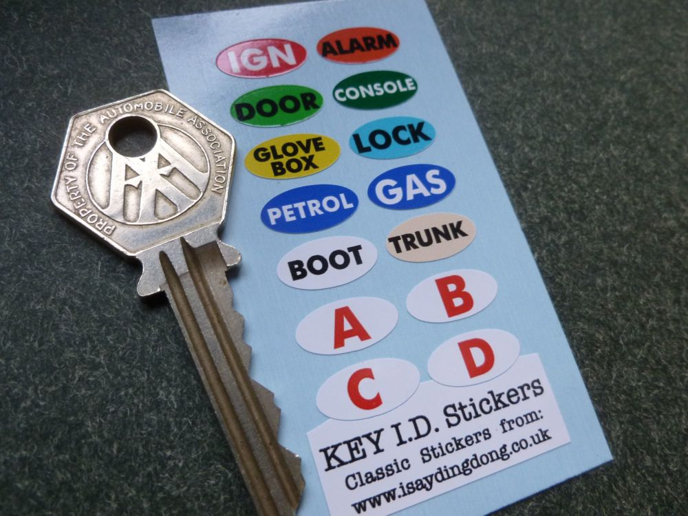 British Car Key ID Stickers. Set of 14.