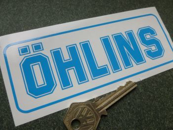 Ohlins Lighter Blue Cut Vinyl No Background Stickers. 140mm Pair.