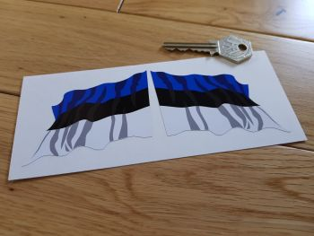 "Estonian Flag Wavy Flag of Estonia Stickers. 3"" Pair."
