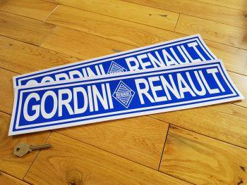 Renault Gordini Blue Oblong Stickers. 450mm Pair.