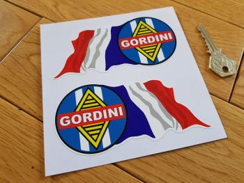 "Renault Gordini Tricola Wavy Flag Stickers. 5"" Pair."