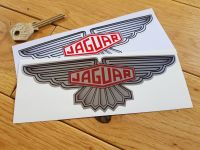 "Jaguar Winged Lozenge Stickers. 3"", 6"", or 12"" Pair. Silver or White."