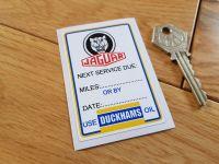 Jaguar 'Next Service Due' Duckhams Service Sticker. 3