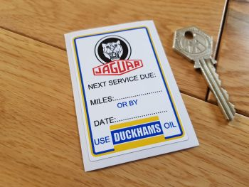 "Jaguar 'Next Service Due' Duckhams Service Sticker. 3""."
