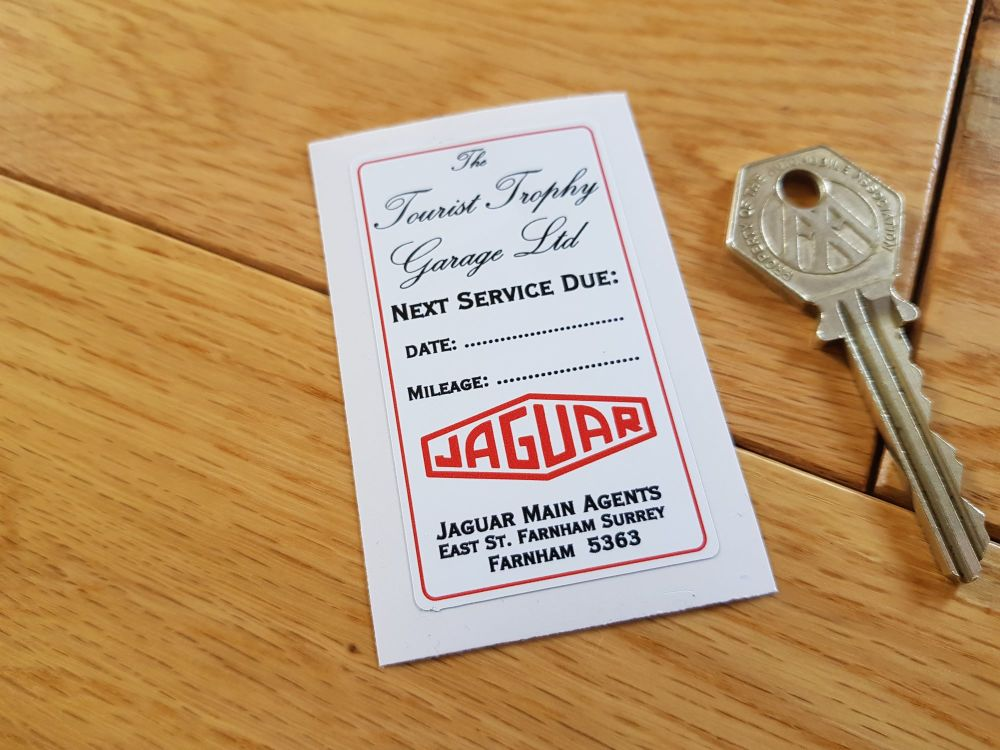 "Jaguar 'Next Service Due' Tourist Trophy Service Sticker. 2.5""."