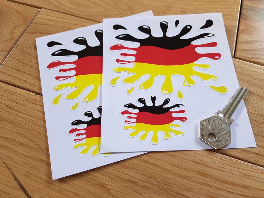 German Flag Splat Style Stickers. Set of 4.