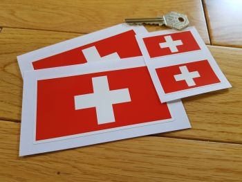 Swiss Flag Stickers. Set of 4.
