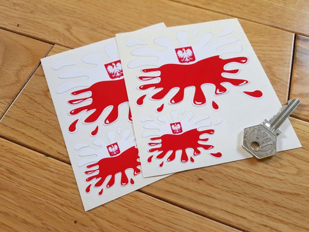 Poland Flag Splat Stickers. Set of 4.
