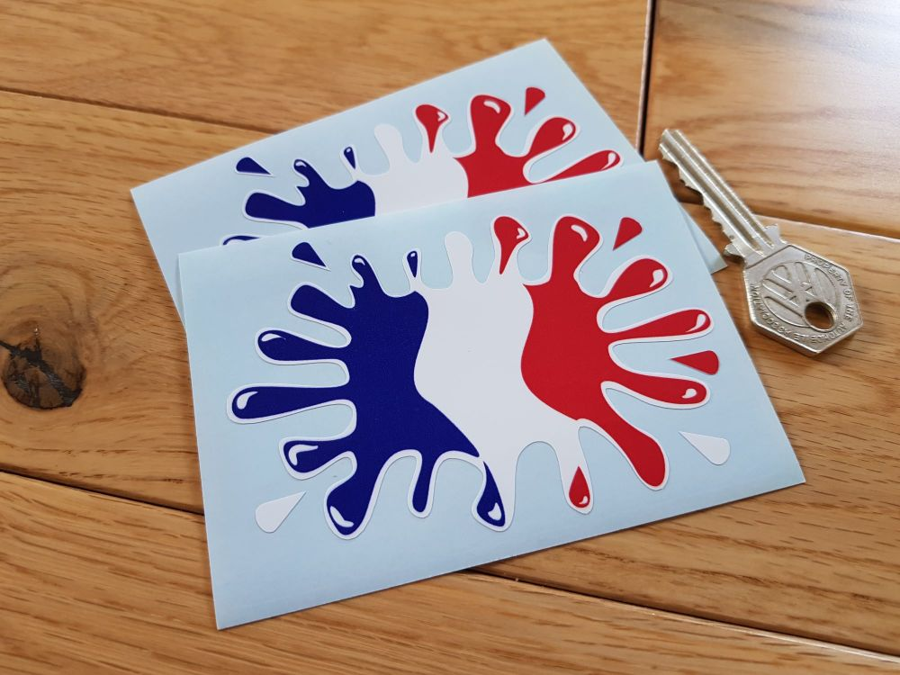 """French Flag Splat Style Stickers. 4"""" Pair."""
