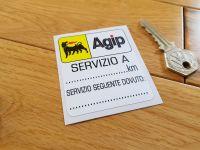 Agip 'Servizio A' Service Sticker. 2.75