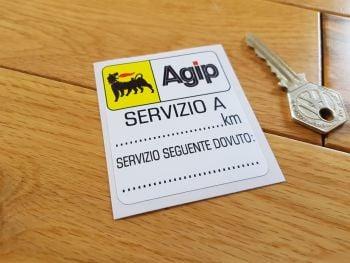 """Agip 'Servizio A' Service Sticker. 2.75""""."""