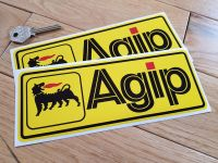 Agip Yellow Oblong Stickers - 8