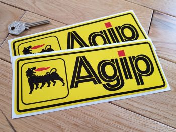 "Agip Yellow Oblong Stickers. 8"" Pair."