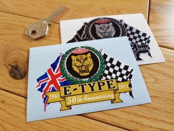 "Jaguar E-Type 50th Anniversary Flag & Scroll Sticker. 3.75""."