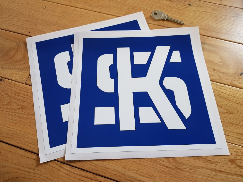 "KS Pistons Dark Blue & White Square Stickers. 8"" Pair."