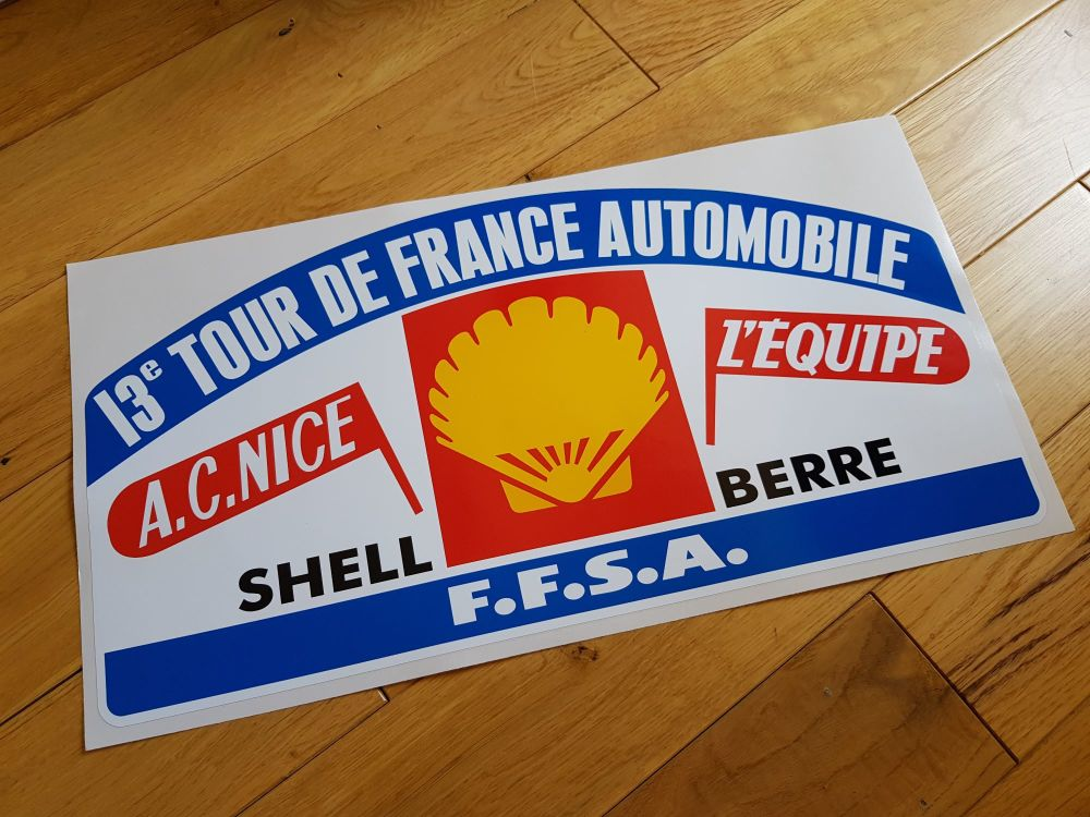 "13e Tour de France Automobile Rally Plate Style Sticker. 17.5""."