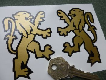 "Peugeot Old Lions Black & Gold Style Stickers. 3.5"" Pair."