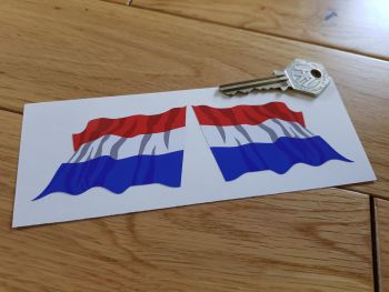 "Netherlands Wavy Flags. Handed 2"" or 3"" Pair."