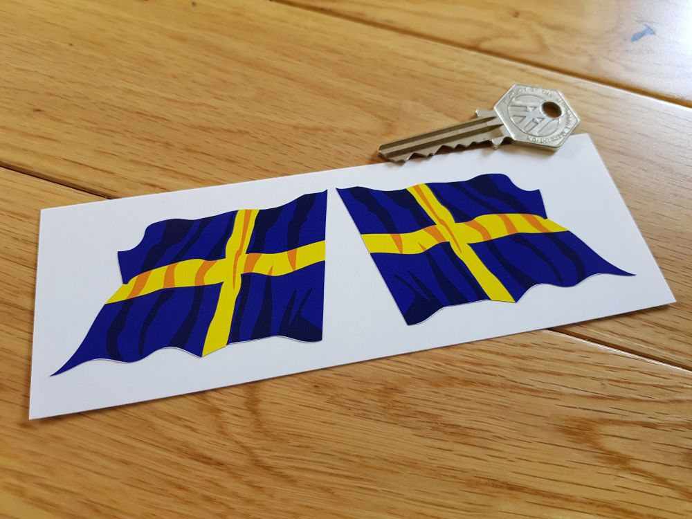 """Sweden Wavy Flag Stickers. 2"""" or 3"""" Pair."""