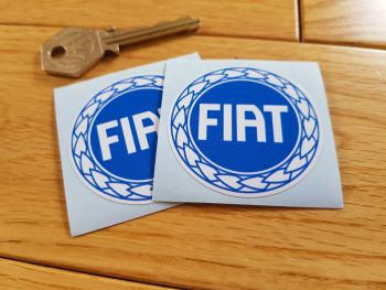 "Fiat Garland Style Blue & White Round Stickers. 2"" Pair."